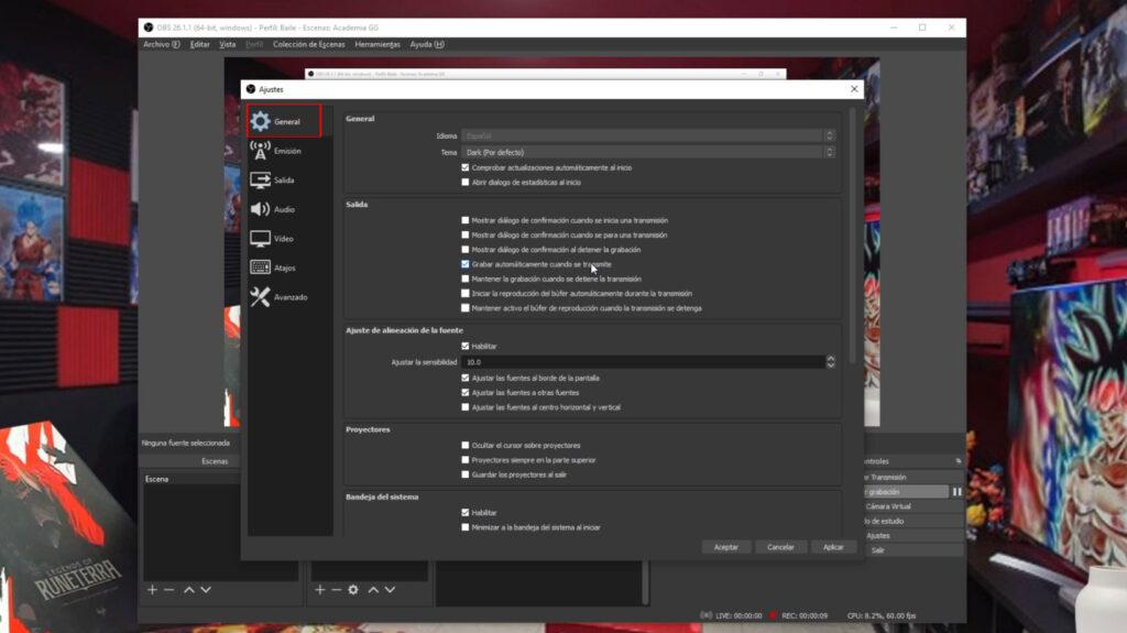 Configurarcion general de OBS Studio