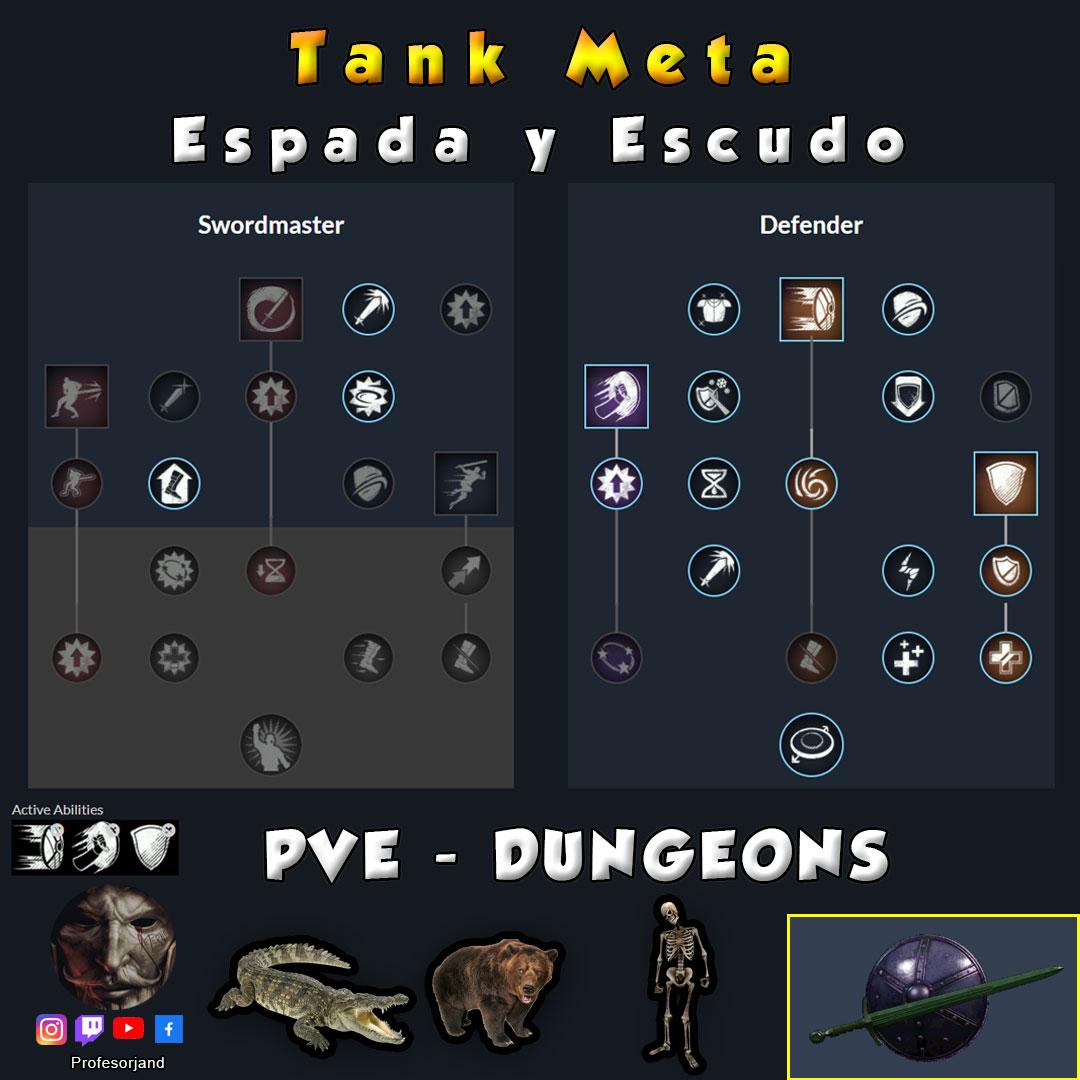 Maestrias Espada y Escudo PvE New World Tanque Tank