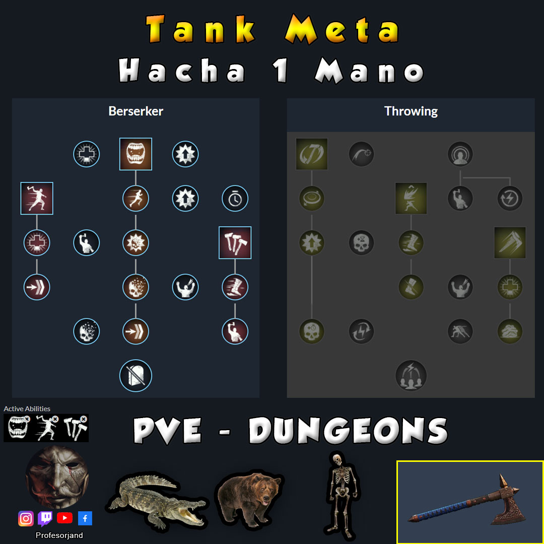 Maestrias Hacha 1 Mano PvE New World Tanque Tank